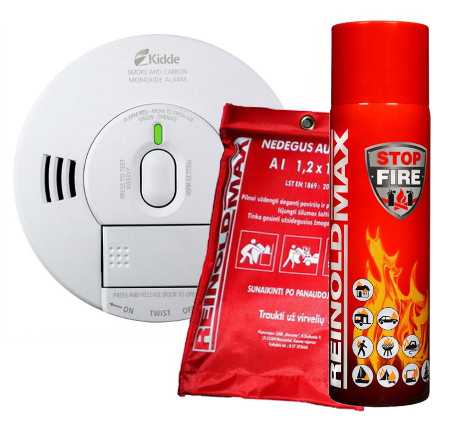 Anglies monoksido ir dūmų detektorius 10SCO, 500 ml gesintuvas, nedegus audeklas